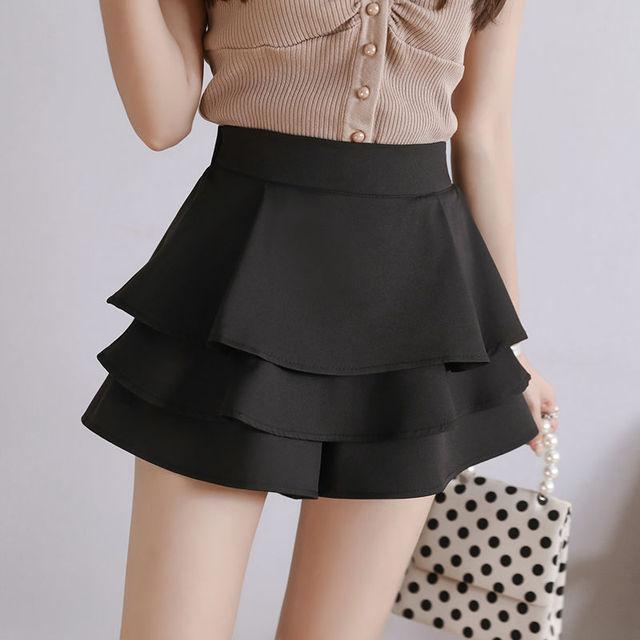 summer chiffon shorts black white green pink elasticated high waist women's Ruffles cake skirt girl lovely sweet student dance 4