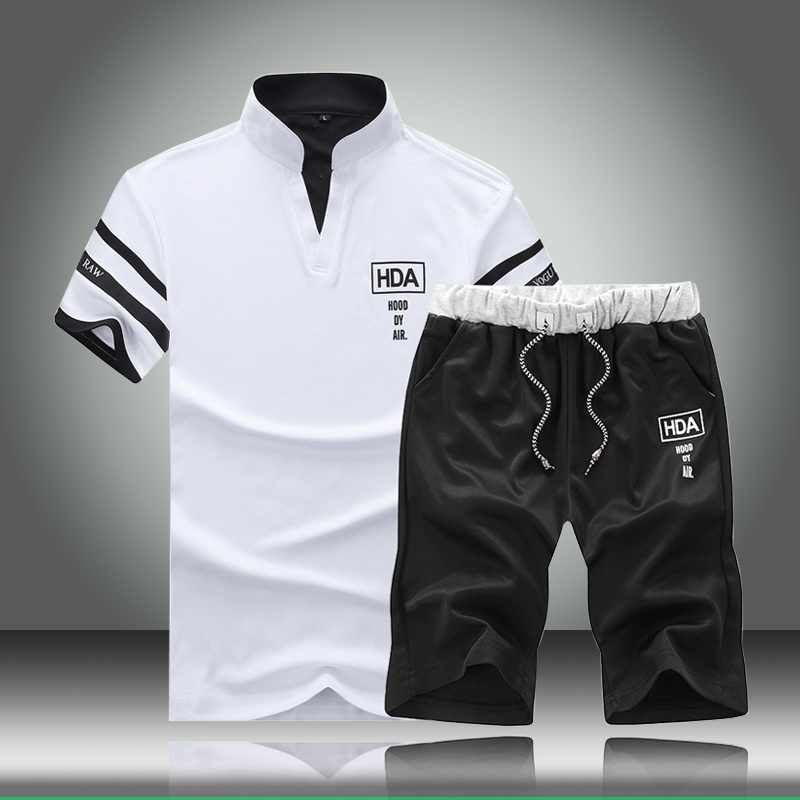 2020 New Summer Mens Tracksuit Sets Men Brand Short Sleeve Casual Slim Fit Sportsman T Shirts + Shorts Letter Printed Sport Suit