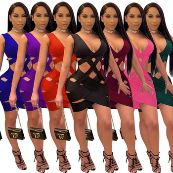 2021 Dress for Women Sexy Weave Deep V Neck Backless Hollow Out Bodycon Mini Women Dress Elegant Night Club Party Dresses Robe 1