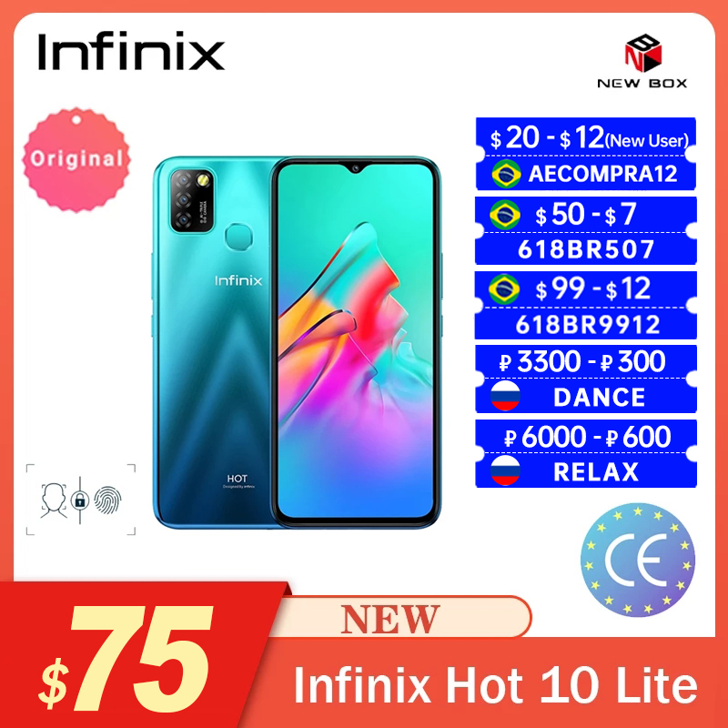 Смартфон Infinix Hot 10 Lite, 6,6 дюймов, HD дисплей, 5000 мАч, 13 МП, тройная камера, Распознавание отпечатков пальцев и лица, разблокировка, Smart Android, Teléfono m...