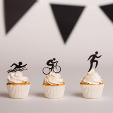 12pcs Triathlon Cupcake Topper Sports Theme Wedding Birthday Party Cake Decoration Supplies Free Shipping