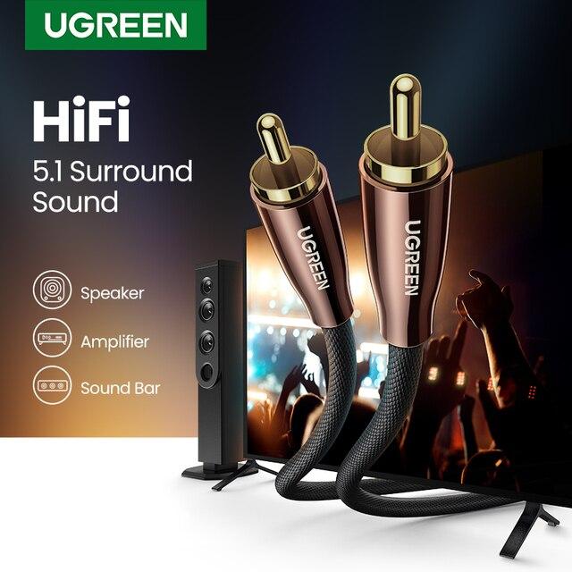 Ugreen HiFi 5,1 SPDIF RCA zu RCA Stecker auf Stecker Koaxialkabel Stereo Audio Kabel Nylon 3m 5m RCA Video Kabel für TV Verstärker Hause