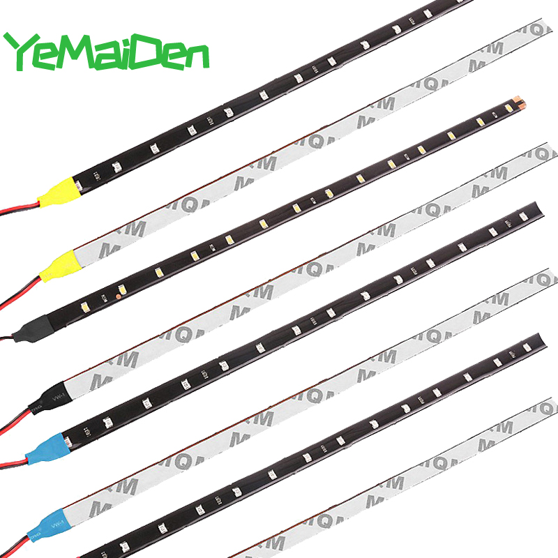 Car LED Strip Styling Decorative Ambient Light 30CM 15 SMD Lamp Waterproof  LED Flexible Atmosphere Light White Red Yellow Bule