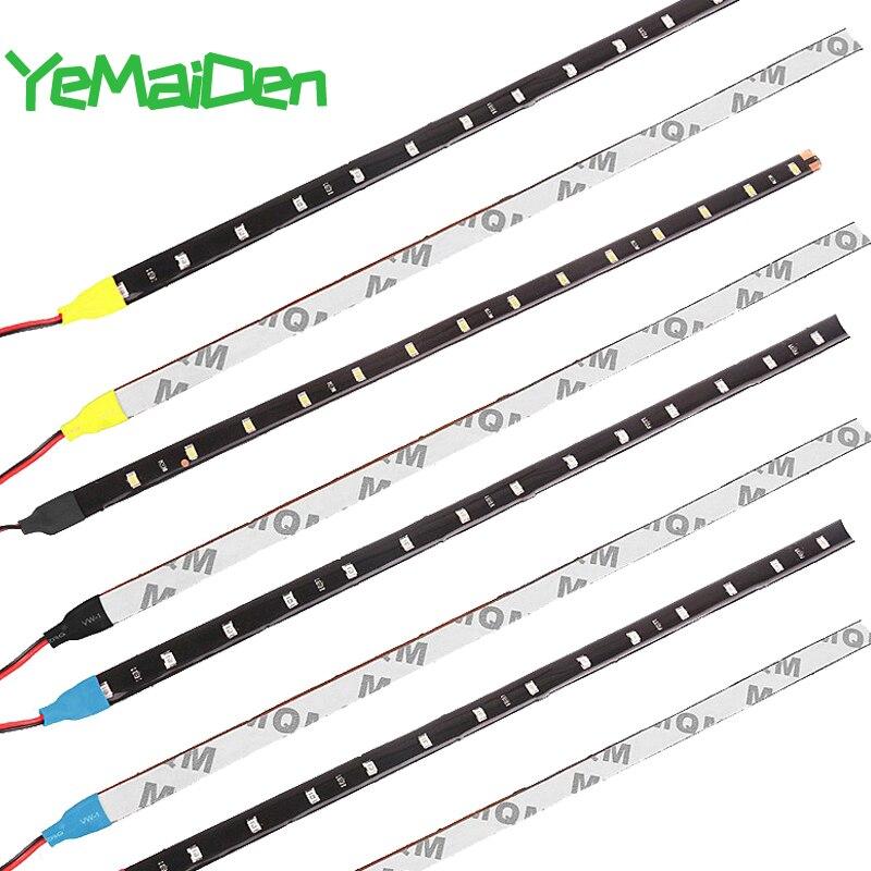 Tira de LED para coche estilo decorativo luz ambiental 30CM 15 SMD lámpara impermeable LED atmósfera Flexible luz blanca rojo amarillo azul