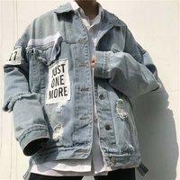National Trends New Style Cowboy Jacket Teenager Cardigan Korean style High Street BF Students Men's INS Hip Hop Slim Models