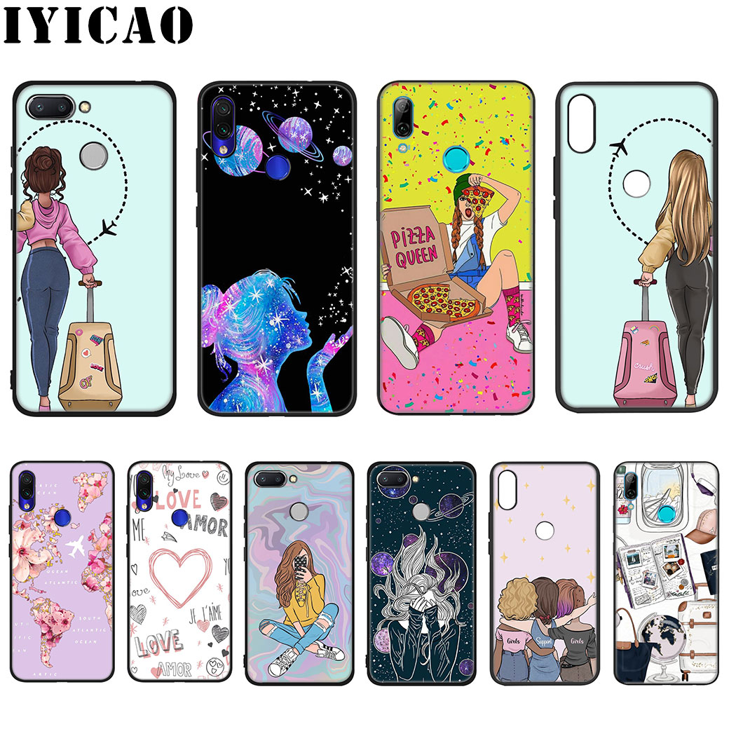 IYICAO Fashion Girl friendship Soft Silicone Case for Xiaomi Redmi Note 4X 5 6 7 8 Pro 5A Prime Case image