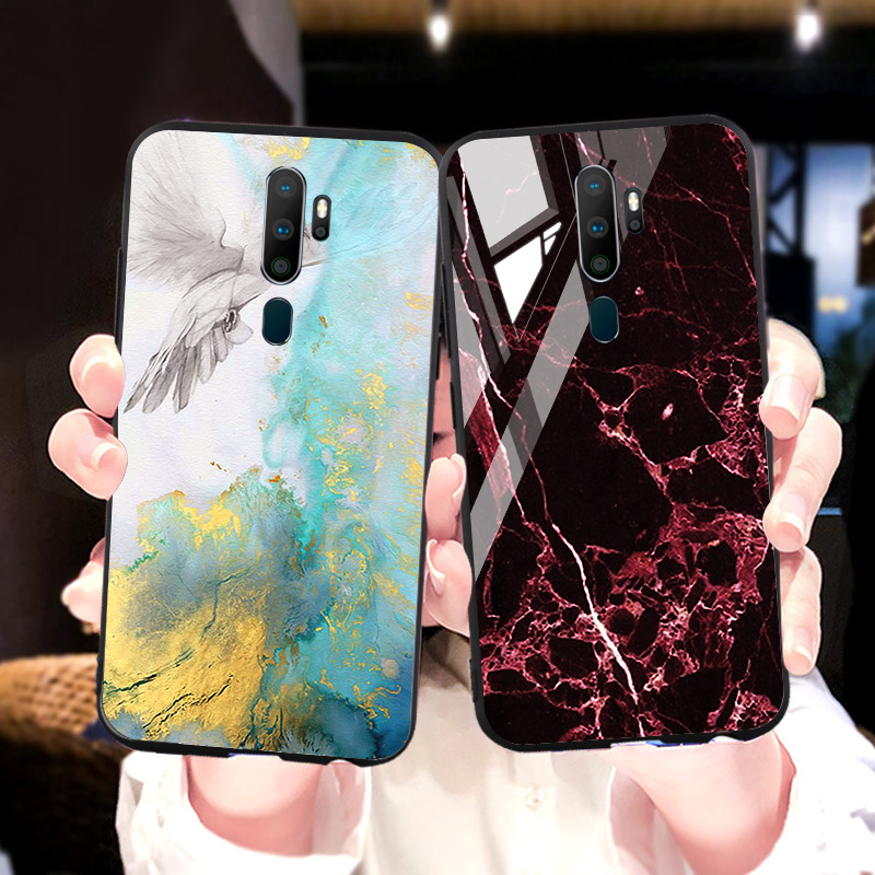 Marble Tempered Glass <font><b>Case</b></font> For <font><b>OPPO</b></font> F11 Pro A1k A33 Neo <font><b>7</b></font> 9 A37A57 F3 Lite A39 A59 A77 A79 A83 F5 F7 F9 A73 <font><b>Find</b></font> X A5 A3s <font><b>Cases</b></font> image