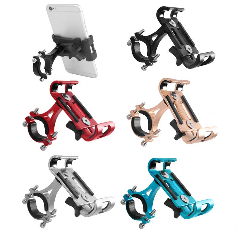 Aluminum Aluminum Alloy Bicycle Phone Holder  Non-skid Pad Bike Smartphone Cradle Mount Cell Phone GPS Bracket Riding Outdoor