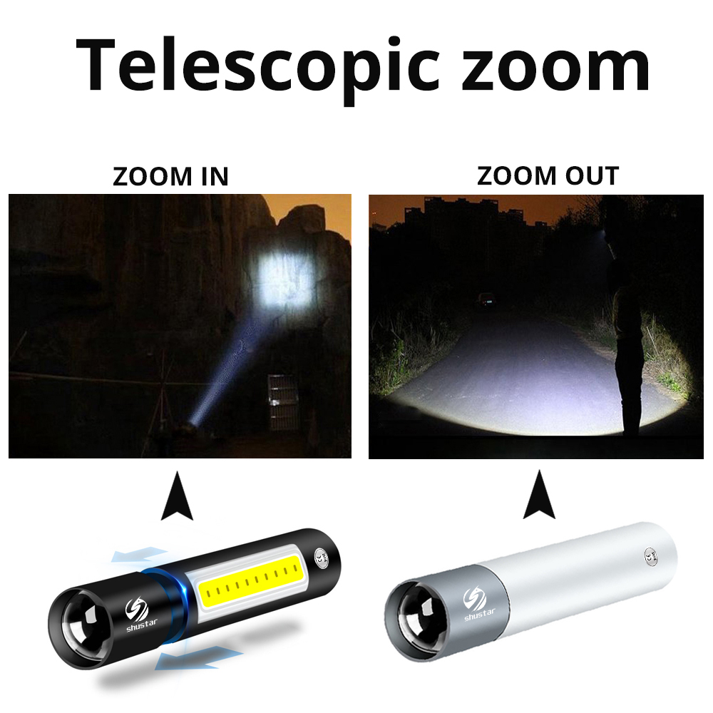 USB Rechargable Mini LED Flashlight 3 Lighting Mode Waterproof Torch  Telescopic Zoom Stylish Portable Suit for Night Lighting Pakistan