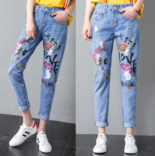 Coloured Drawing Jeans Women's Western Style Lips Avatar Harem Pants Students Casual Pants Capri Trousers