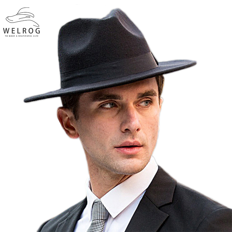 WELROG Brim Hats Fedora-Caps Elegant Black Panama Autumn Vintage Men's New Flat Winter title=