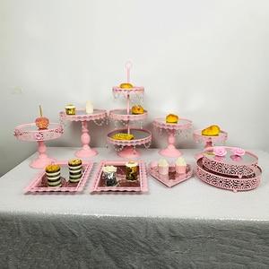 Image 5 - 3pcs 10pcs Pink cupcake mirror tray Decoration With Crystal Cupcake Rack Cake Stand Holder