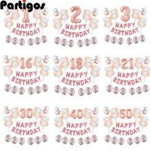 36pcs Numero Foil Palloncini 1st 1 2 3 4 5 10 15 16 18 21 30 40 50 60 anni di Età Decorazione Felice Festa di Compleanno Per Bambini di Età Della Ragazza del Ragazzo