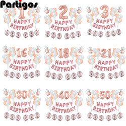36pcs Number Foil Balloons 1st 1 2 3 4 5 10 15 16 18 21 30 40 50 60 Year Old Happy Birthday Party Decoration Adult Kids Boy Girl