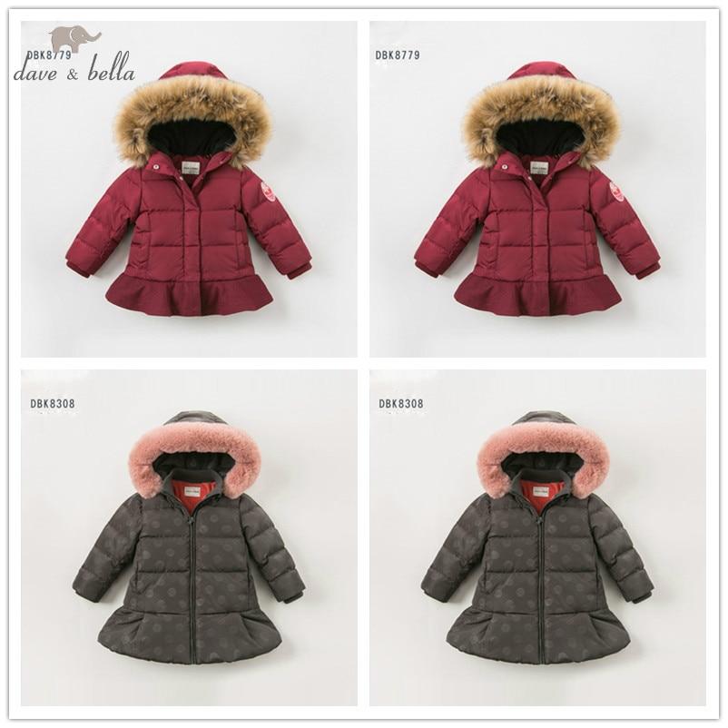 Dave bella winter baby meisjes donsjack kinderen 90% omlaag gewatteerde jas kids hooded bovenkleding met grote bont