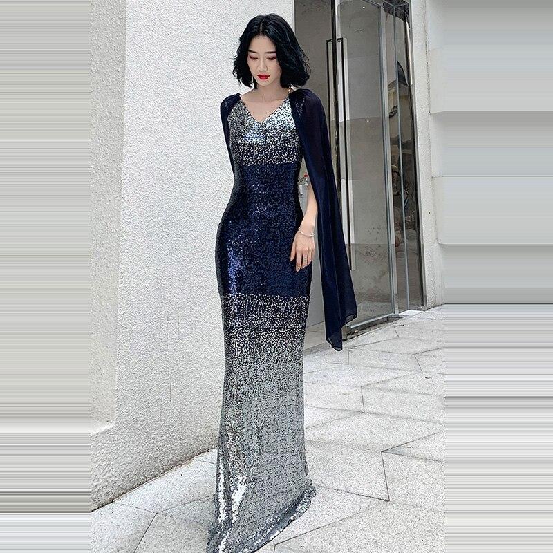 Evening     Dress   Double V-neck Women Party   Dresses   Sleeveless Robe De Soiree 2019 Floor Length Sequins Elegant Formal Gowns F220
