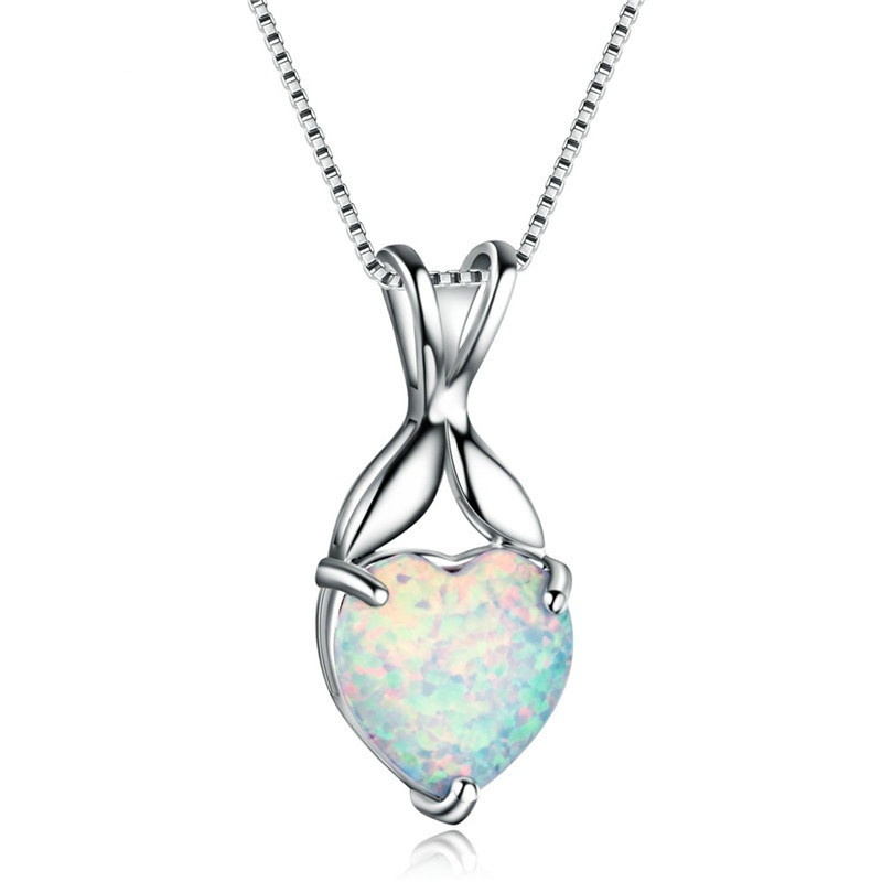 Cute Heart Shape Necklace Charm White Imitation Opal Pendant Necklace For Women Accessories Statement Wedding Jewelry Girl Gifts