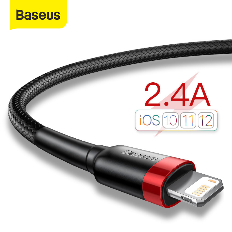 Baseus USB Cable for iPhone 12 11 Pro Max Xs X 8 Plus Cable 2.4A Fast Charging Cable for iPhone 7 SE Charger Cable USB Data Line