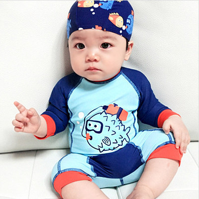 KID'S Swimwear BOY'S One-piece Sun-resistant Boy Baby Infant Quick-Dry Surfing Tour Bathing Suit Warm Hot Springs Swimwear