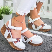 Women's Sandals Summer Flock Fashion High Heels Wedge Platform Open Toes Women
