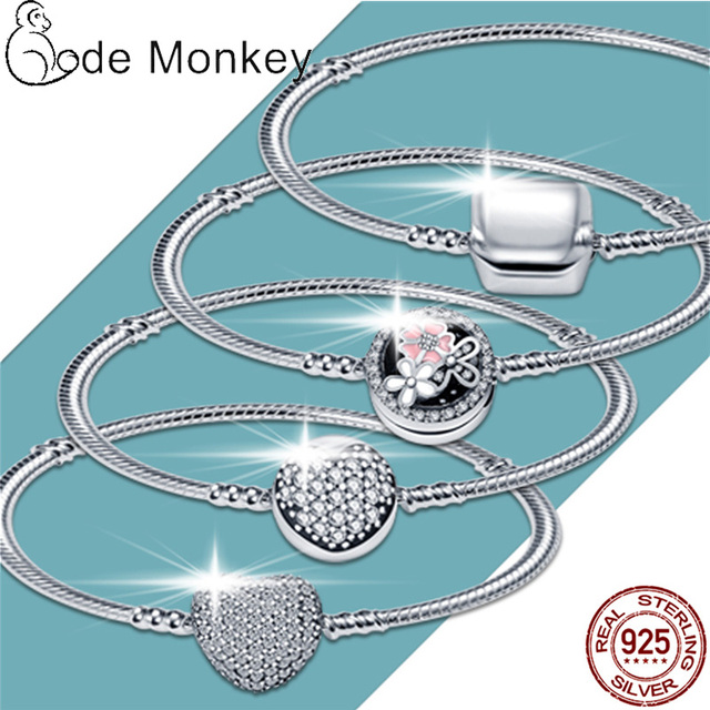 CodeMonkey Hot Sale Classic Series 100% 925 Sterling Silver Heart Bracelet Fit Original Beads Charms DIY Jewelry Gift For Women 4