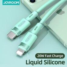 Pd 20w/18w usb c cabo de carregamento rápido para iphone 12 pro max 11 xr xs 8 mais ipad mini ar macbook tipo c carregador de silicone líquido
