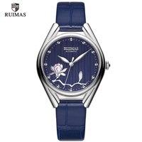 RUIMAS Luxus Automatische Uhr Frauen 2019 Top Marke Leder Mechanische Handgelenk Uhren Dame Weibliche Wasserdichte Relogio Feminino 6774-in Damenuhren aus Uhren bei