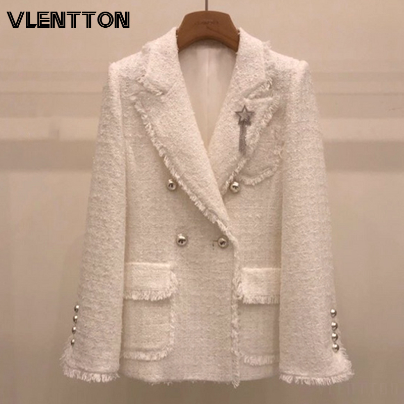 2020 Spring Autumn White Tweed Blazers And Jackets Women Chic Button Solid Suits Coat Female Tops Elegant Office Blazer Feminino