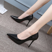 Woman Fine heel 2019 All-match Occupation Patent Leather Sexy 10cm Black High-heeled Shoes Sharp Single