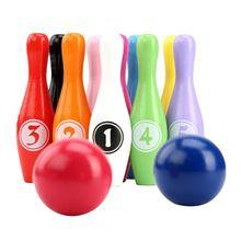 12 шт Деревянный Цвет Боулинг 10 шпильки 2 мяча боулинг игры для боулинга для детей для ношения в помещении, Семья Спорт развивающая игрушка