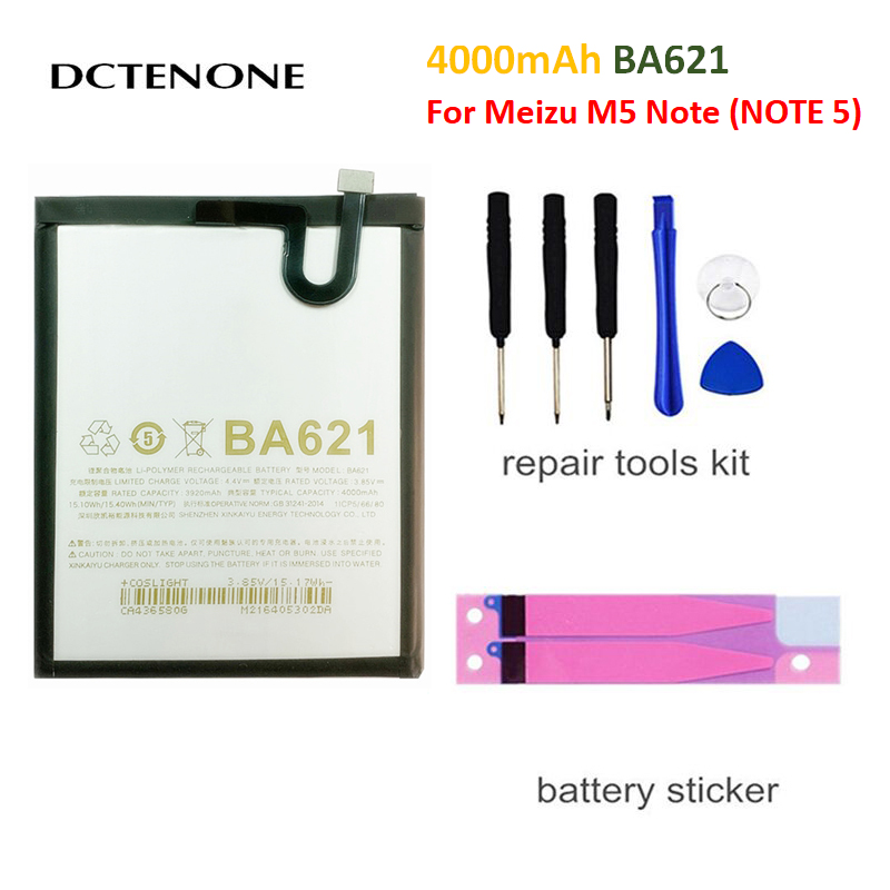 DCTENONE Mobile Phone Battery For <font><b>Meizu</b></font> M5 Note 3.85V 4000mAh With Tools lithium li-po battery Replacement <font><b>BA621</b></font> BA-621 <font><b>BA621</b></font> image