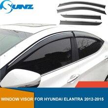 Yan pencere deflector Hyundai Elantra 2012 2013 2014 2015 duman Side pencere deflector yağmur güneş koruyucu havalandırma SUNZ