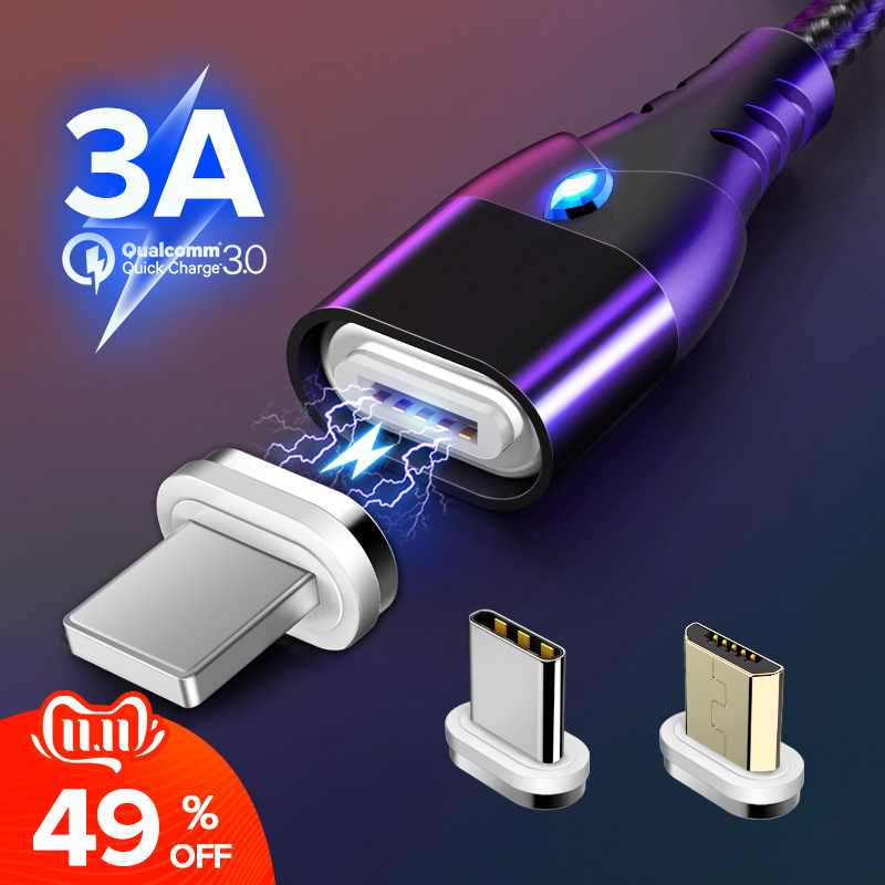 GETIHU 2m Magnetische Kabel Snelle 3A Voor iPhone XS Samsung Charger Quick Charge 3.0 Micro USB Type C Magneet telefoon Opladen Data Cord