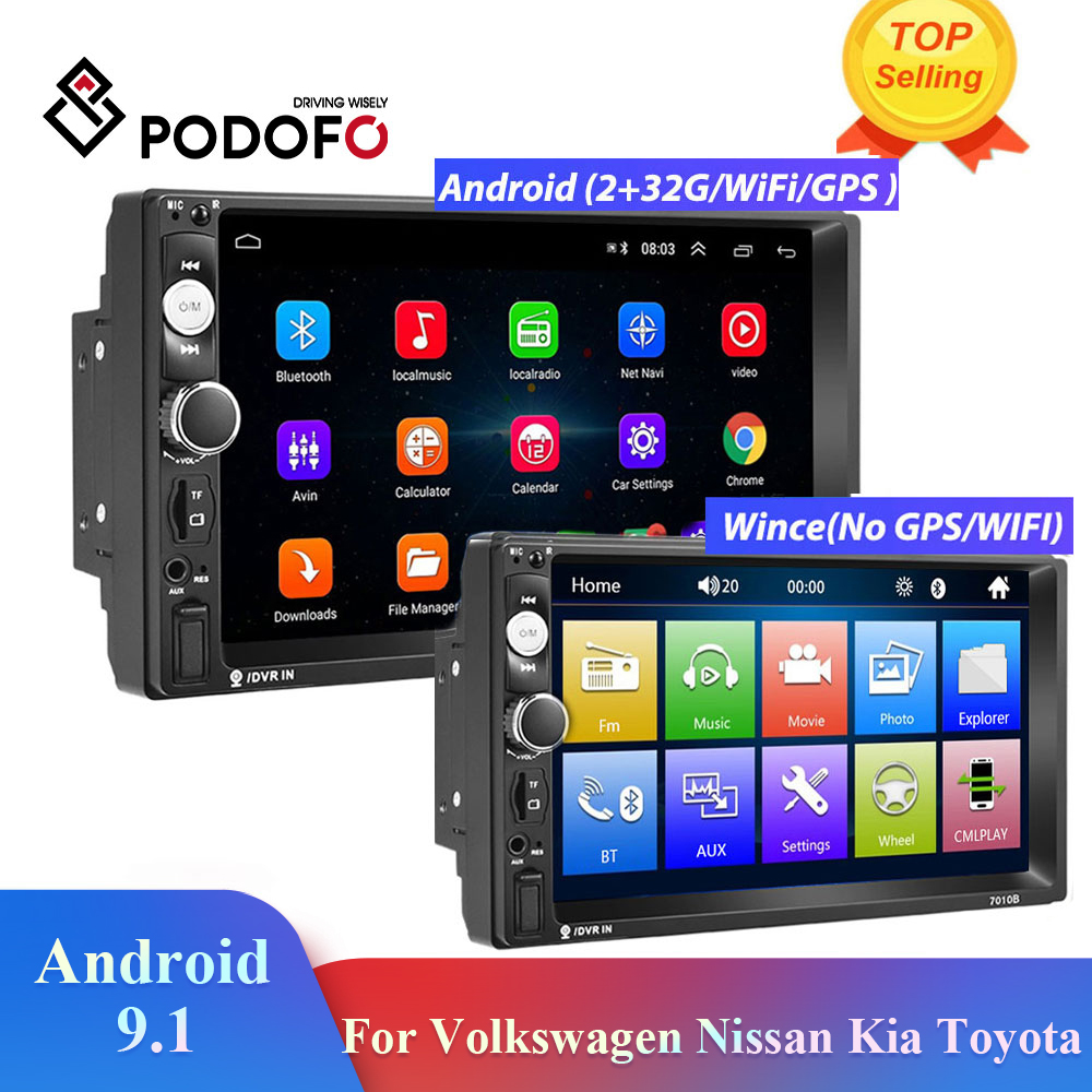 Podofo 2din Autoradio Android Auto Multimedia Speler 2din Autoradio Gps 2din Voor Volkswagen Nissan Hyundai Kia Toyota Universele