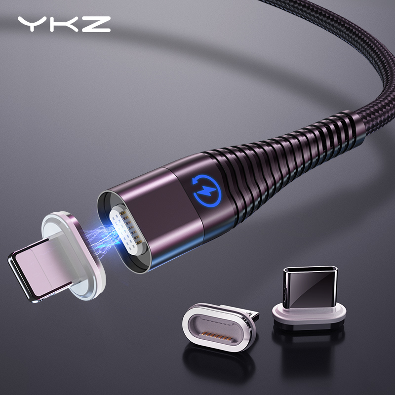 YKZ Magnetic Cable Micro Type C Cable LED Light Fast Charging Magnet USB C Cable for iphone Samsung Xiaomi Data Wire Cord 1m 2m|Mobile Phone Cables| |  - AliExpress