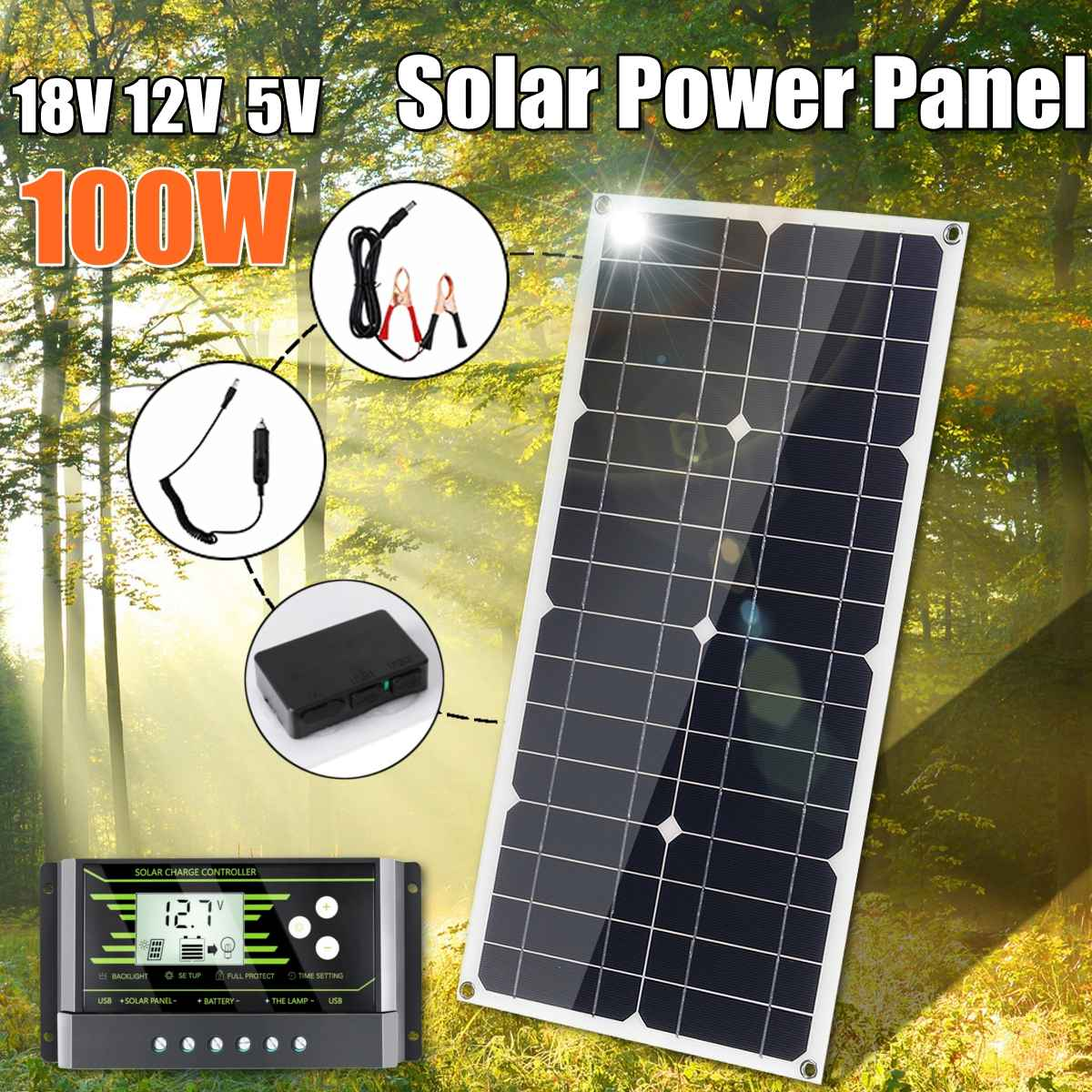 <font><b>Solar</b></font> <font><b>Panel</b></font> <font><b>100w</b></font> 18V <font><b>12V</b></font> Light weight <font><b>Solar</b></font> <font><b>Panel</b></font> Mono crystalline cells <font><b>solar</b></font> battery charger With `10/20/30A Controller image
