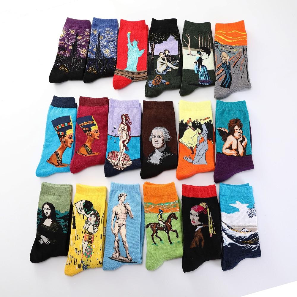 1 Pair Of Fun Autumn And Winter Retro Van Gogh Mural Women's Art World Famous Oil Painting Series Female Socks Funny Socks