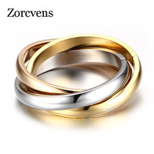 ZORCVENS Classic 3 Rounds Ring Sets Women Stainless Steel Wedding Engagement Female Finger Jewelry(China)