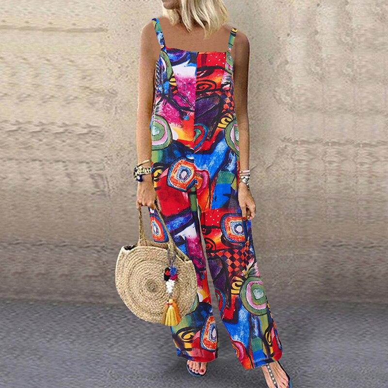 L 5XL ZANZEA 2020 Women Print Rompers Summer Sleeveless Bohemian Jumpsuits Fashion Straps Long Overalls Female Pants Streetwear