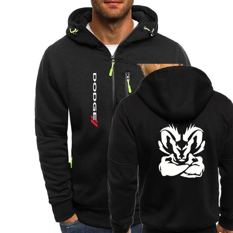 Bomber Jacket Men Autumn Winter Thick Warm Fleece Zipper Hoodies For Mens SportWear Tracksuit Male Dodge Ram Head Print Coat