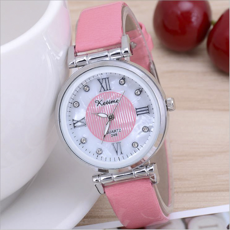 Women Wrist Watches Alloy Ore Glass Ladies Rhinestones Watch Luxury Roman Clock Leather Buckle Quartz Watch Relojes Para Mujer