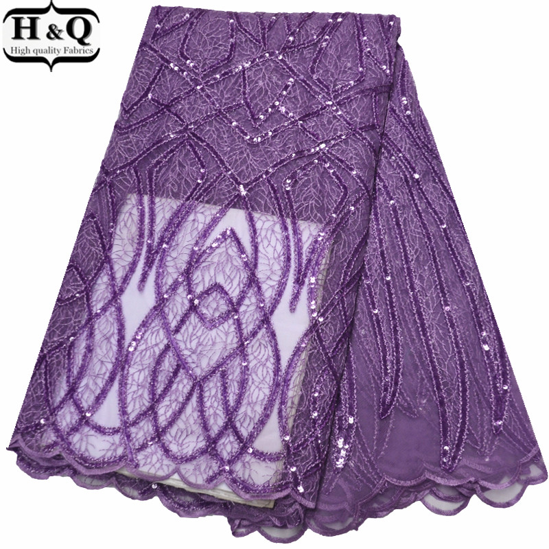 H&Q Purple Embroidered Lace French Tulle Lace Glitter Sequin Lace African Net Lace Nigerian Party Lace Fabric For Wedding Gown