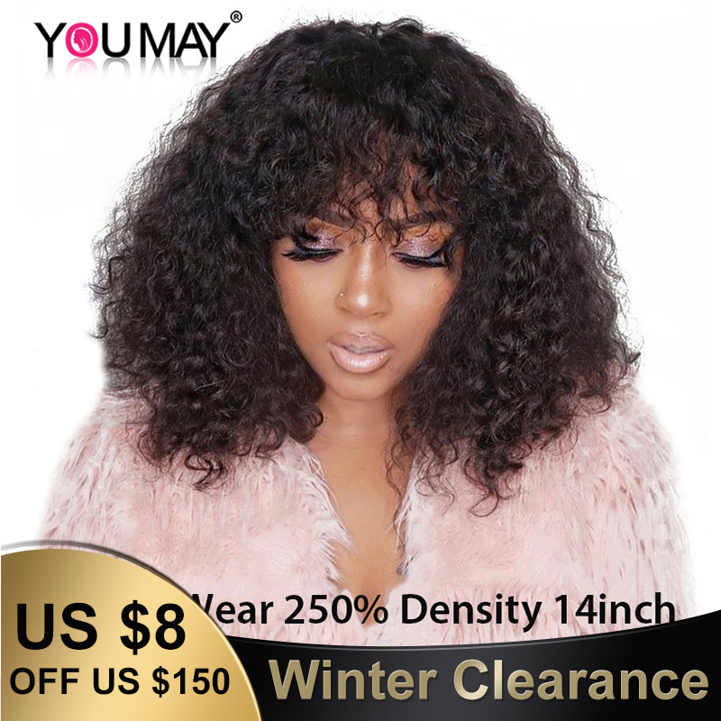 250% Density Brazilian Curly Human Hair Wigs With Bangs 13x6 Bob Lace Front Wigs For Women 360 Lace Wigs With Bangs You May Remy