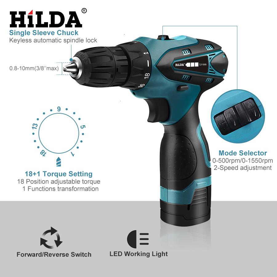Image 3 - HILDA Electric Drill Cordless Screwdriver Lithium Battery  Mini Drill Cordless Screwdriver Power Tools Cordless Drill-in Electric Drills from Tools on