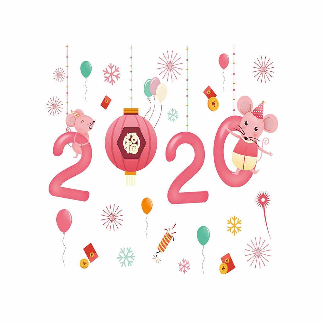 Felice Anno Nuovo 2020 Del Fumetto Del Mouse Finestra Autoadesivo Della Decorazione Della Casa Autoadesivo Caldo di Vendita di Modo Di Natale adesivi decorazione della casa