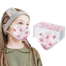 20 40 sztuk dzieci jednorazowa maska na twarz wzór truskawka przemysłowe 3-warstwę maski na czystej bawełny oddychająca mascarillas маска # W tanie tanio ISHOWTIENDA NONE Chin kontynentalnych