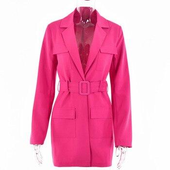 [EWQ] korea chic Trendy women's solid color lapel tie wide loose fashion green long-sleeved blazer autumn 2021 1
