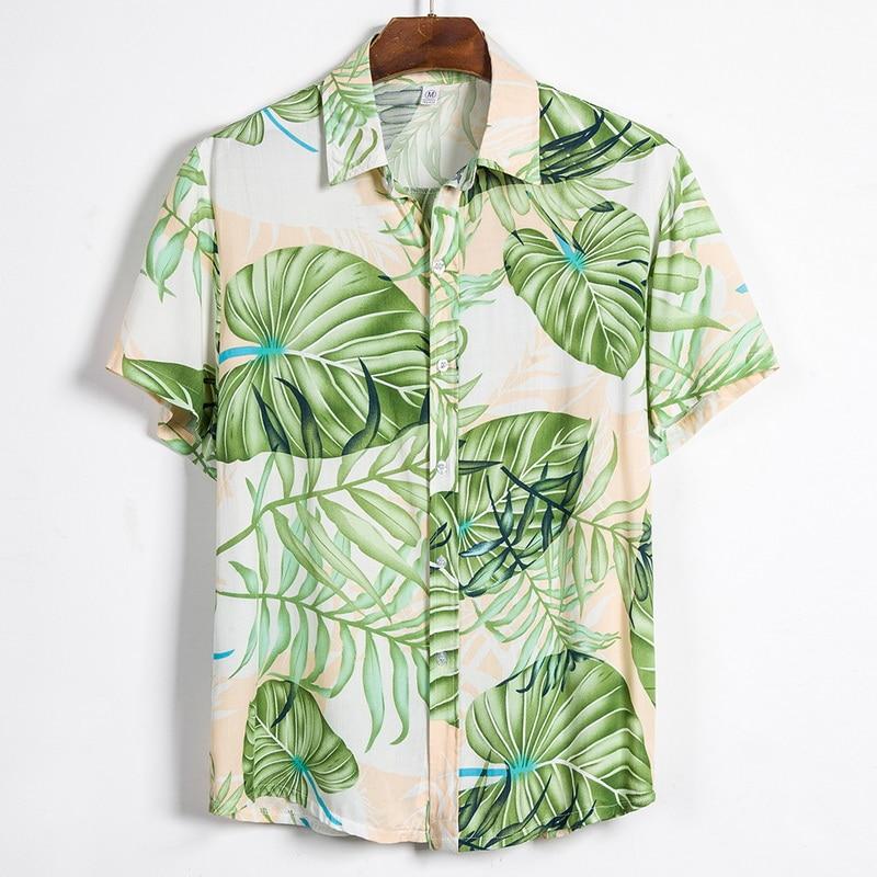 2020 Summer Men's Short Sleeve Hawaiian Shirts Tropical Button Tops Floral Loose Cotton Shirts Casual Holiday Shirts Tee Tops