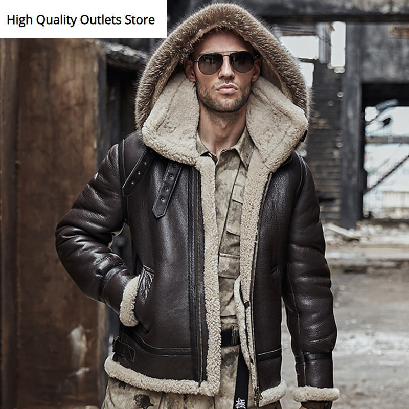 Men Genuine Leather Jacket Man Real Original Ecological Sheepskin Coat Raccoon Fur Detachable Hood Winter Jackets Short Design