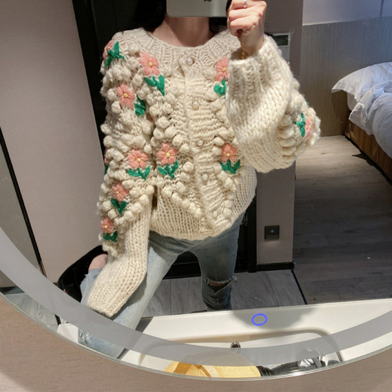 WOMENGAGA 2020 Spring New O-neck Stereoscopic Flowers Loose Casual College Preppy Style Sweater Breasted Cardigans Hairball A031